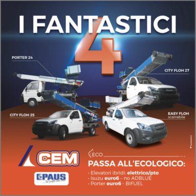 Arrivano i Fantastici 4, gli Elevatori ECO, BIFUEL, EURO 6 e NO ADBLUE